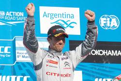 Podium: race winner Sébastien Loeb, second place Jose Maria Lopez, third place Tiago Monteiro