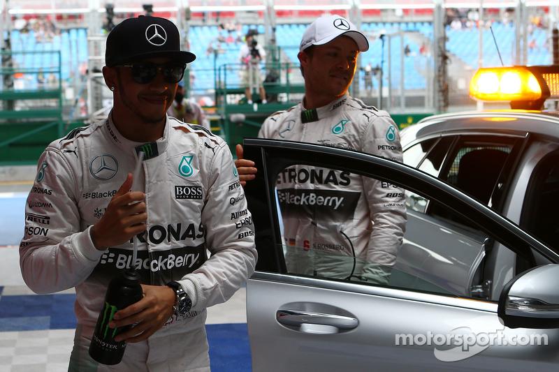 Pole winner Lewis Hamilton, Mercedes AMG F1 W06 and second place Nico Rosberg, Mercedes AMG F1