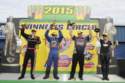 Top Fuel winner Spencer Massey, Funny Car winner Ron Capps, Pro Stock winner Greg Anderson, Pro Stock Bike winner Karen Stoffer