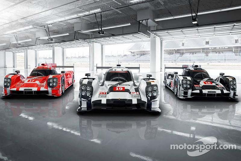 Der Porsche 919 Hybrid 2015 in den drei Farben für Le Mans
