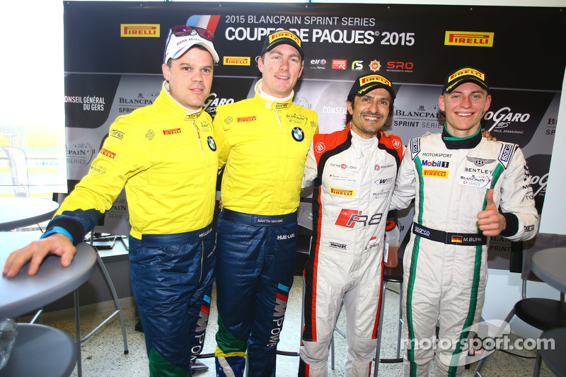 Polesitter Stéphane Ortelli, Belgian Audi Club Team WRT, second place Maxime Martin, Dirk Müller, BMW Sports Trophy Team Brasil, third place Maximilian Buhk, Team HTP