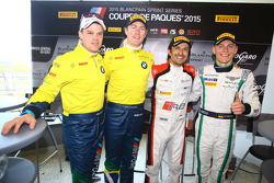Polesitter Stéphane Ortelli, Belgian Audi Club Team WRT, second place Maxime Martin, Dirk Müller, BMW Sports Trophy Team Brasil, third place Maximilian Buhk, Team HTP