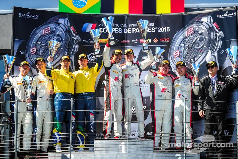 Podium: race winners Stéphane Richelmi, Stéphane Ortelli, Belgian Audi Club Team WRT, second place M