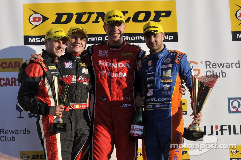 Round 3 Podium 1st Matt Neal, 2nd Jack Goff, 3rd Aron Smith and JST Winner Mike Bushell