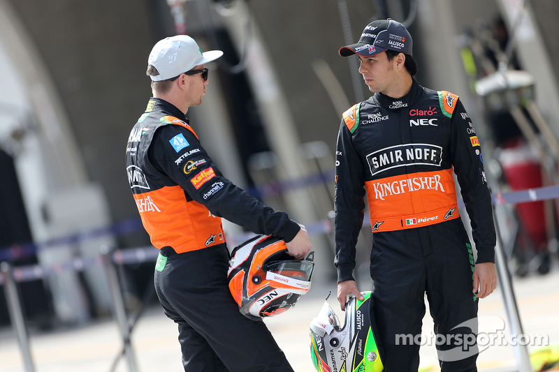Nico Hulkenberg, Sahara Force India, dan Sergio Perez, Sahara Force India
