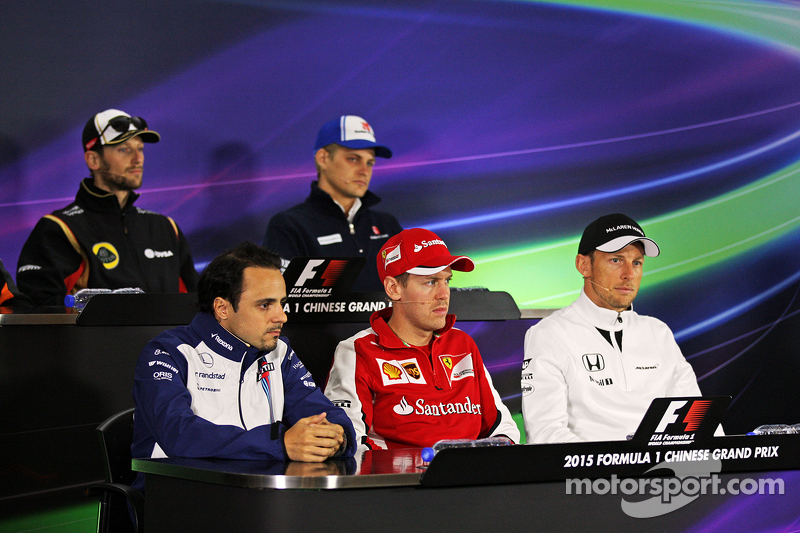 Felipe Massa, Williams; Sebastian Vettel, Ferrari; and Jenson Button, McLaren in the FIA Press Conference