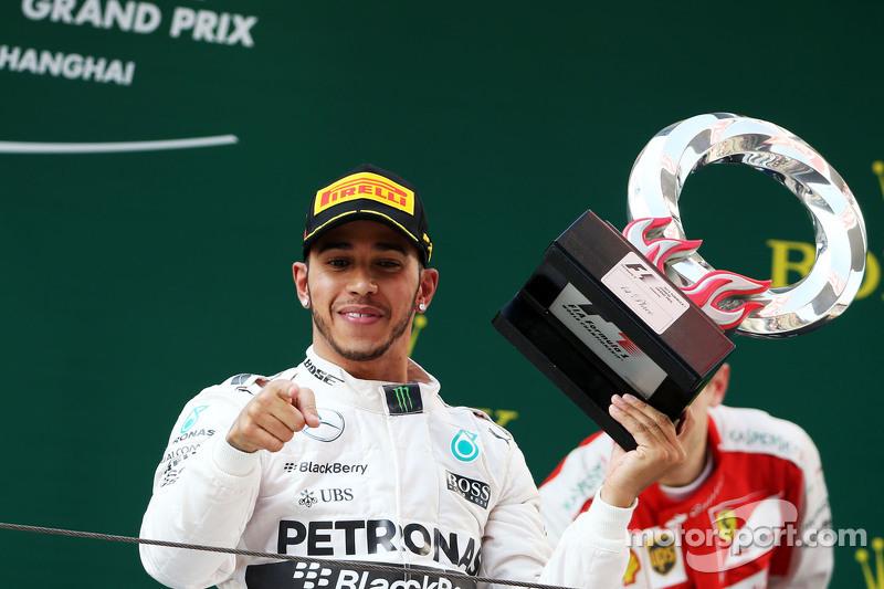 Lewis Hamilton Mercedes AMG F1 celebrates on the podium