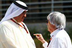 Sheikh Mohammed bin Essa Al Khalifa CEO of the Bahrain Economic Development Board and McLaren Shareholder with Bernie Ecclestone.