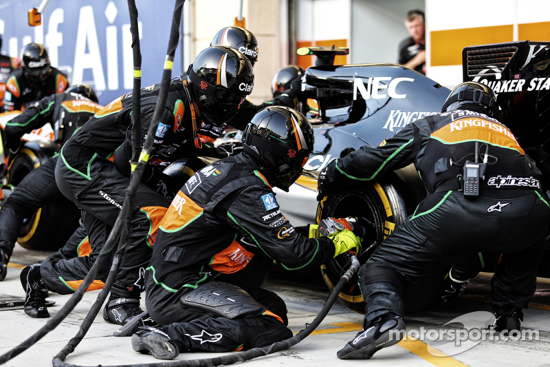 Sahara Force India F1 Team mechanics practice pit stops