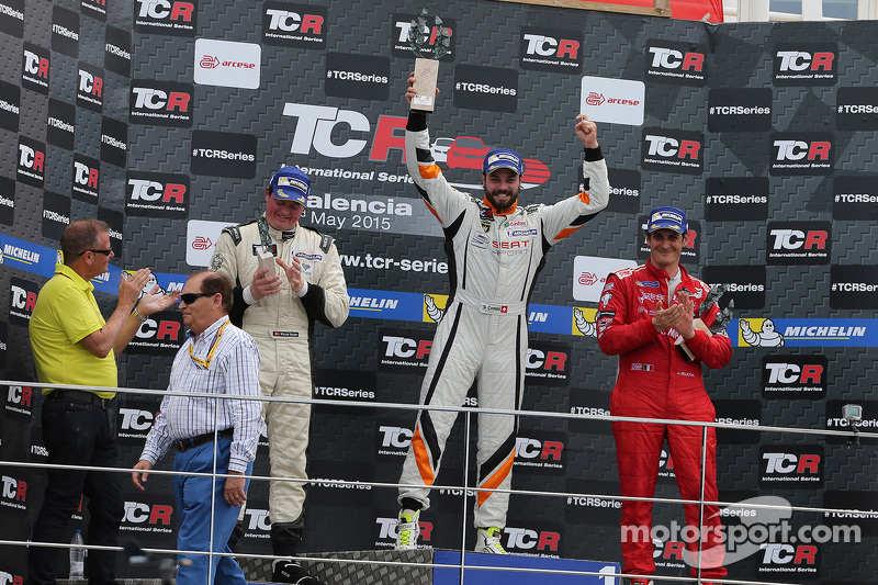 Podium Race 2: 1st position Stefano Comini, SEAT Leon, Target Competition, 2nd position Michel Nykja