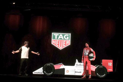Fernando Alonso with the hologram of Ayrton Senna