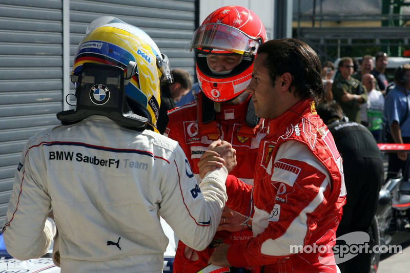 Michael Schumacher, Felipe Massa and Nick Heidfeld
