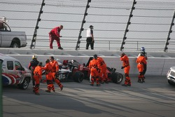 Safety workers separate jamie Camara and Bobby Wilson after an accident