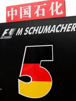 Name plate of Michael Schumacher