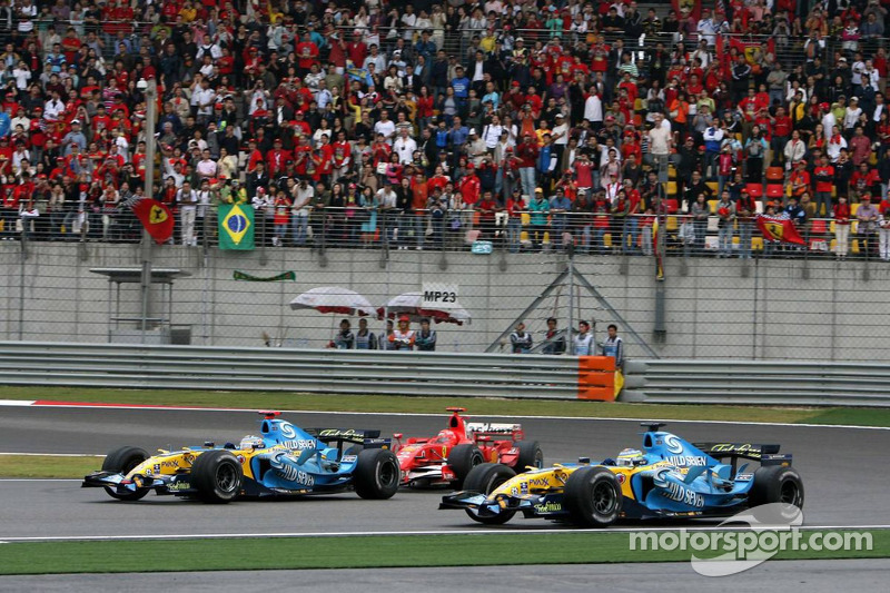 Fernando Alonso lidera a Michael Schumacher y Giancarlo Fisichella