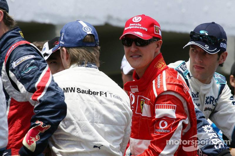 Michael Schumacher, Nick Heidfeld et Alexander Wurz