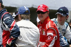 Michael Schumacher, Nick Heidfeld and Alexander Wurz
