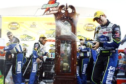 Victory lane: champagne for race winner Jimmie Johnson