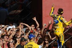 Pole winner Valentino Rossi celebrates
