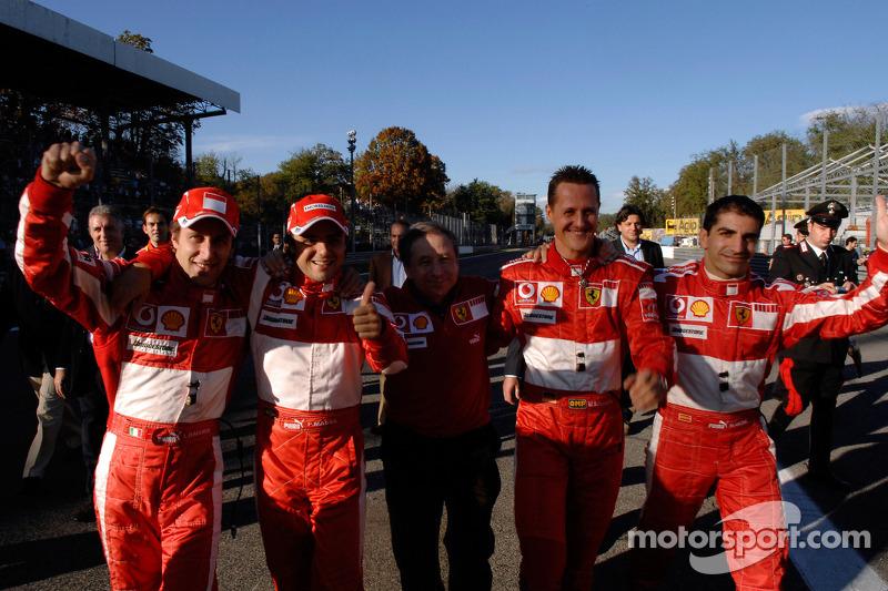 Luca Badoer, Felipe Massa, Jean Todt, Michael Schumacher ve Marc Gene
