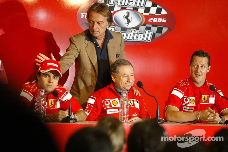 Conferencia: Felipe Massa, Jean Todt, Luca di Montezemolo y Michael Schumacher