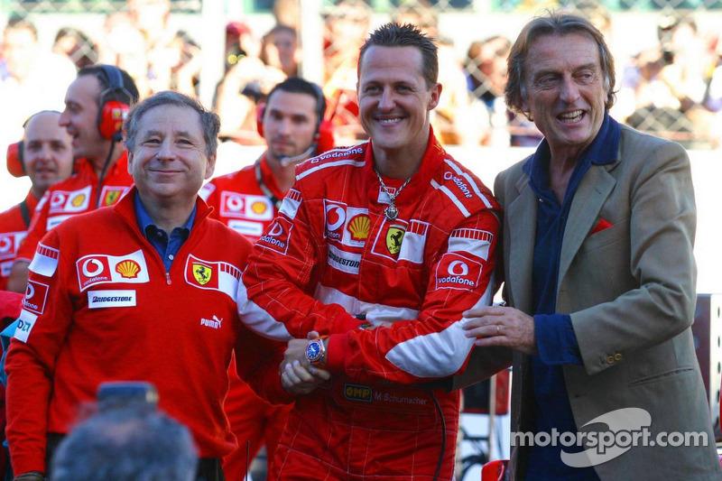 Jean Todt, Michael Schumacher y Luca di Montezemolo