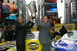 Jimmie Johnson and crew chief Chad Knaus celebrate their championship in Times Square