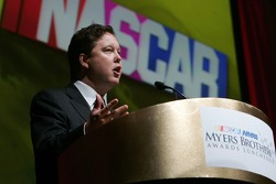 NASCAR Chairman and CEO Brian France addresses the crowd at the NASCAR NMPA Myers Brothers Awards Luncheon