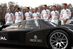 Jacques Villeneuve, Marc Gene, Pedro Lamy, Eric Hélary, Stéphane Sarrazin, Nicolas Minassian und Sébastien Bourdais mit dem Peugeot 908 HDi FAP