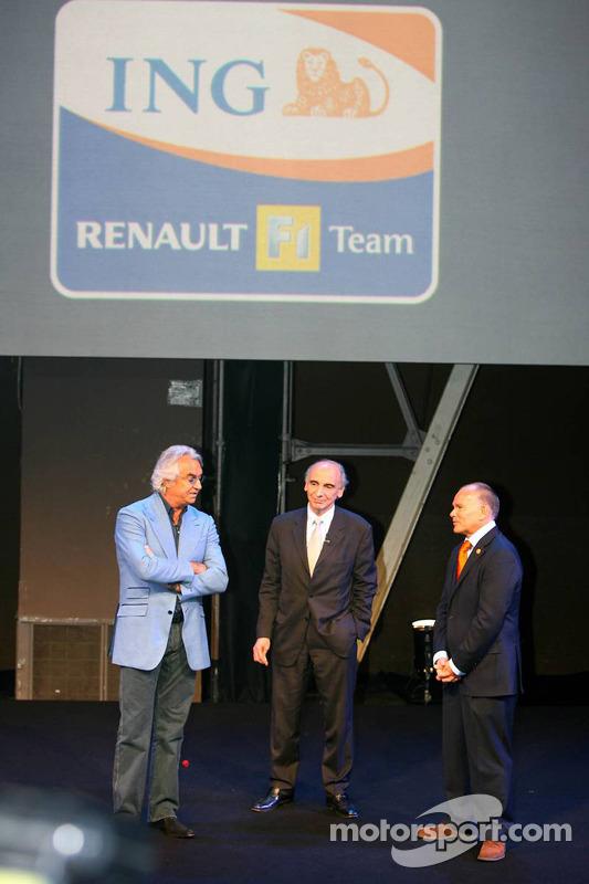 Flavio Briatore, Renault; Alain Dassas, Präsident, Renault F1 Team