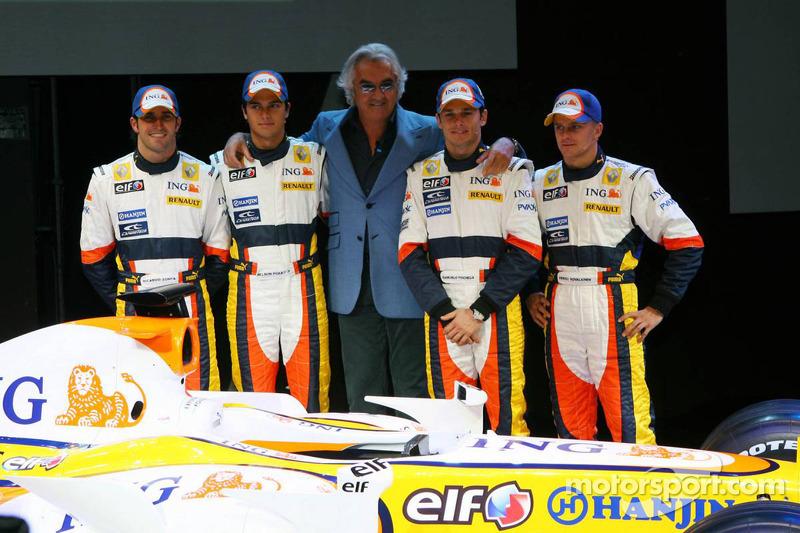 From left to right: Ricardo Zonta, Nelson A. Piquet, Flavio Briatore, Giancarlo Fisichella and Heikki Kovalainen