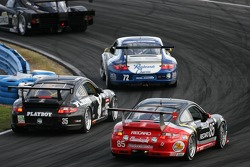 #35 Playboy Racing/ Unitech Porsche GT3 Cup: Tommy Constantine, Mike Borkowski, David Murry, Hal Prewitt, #85 Farnbacher Loles Motorsports Porsche GT3 Cup: Leh Keen, Pierre Ehret, Dirk Werner, Jorg Hardt