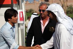 Nelson A. Piquet, Flavio Briatore, Sheikh Mohammed bin Zayed al Nahayan and Bernie Ecclestone