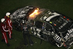 Last lap crash: Clint Bowyer walks away from the crash