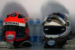 Helmets of Robert Kubica and Nick Heidfeld