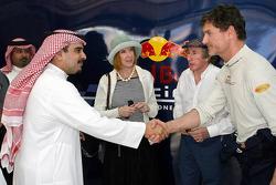Shaikh Salman bin Hamad bin Isa Al Khalifa and David Coulthard and Sir Jackie Stewart