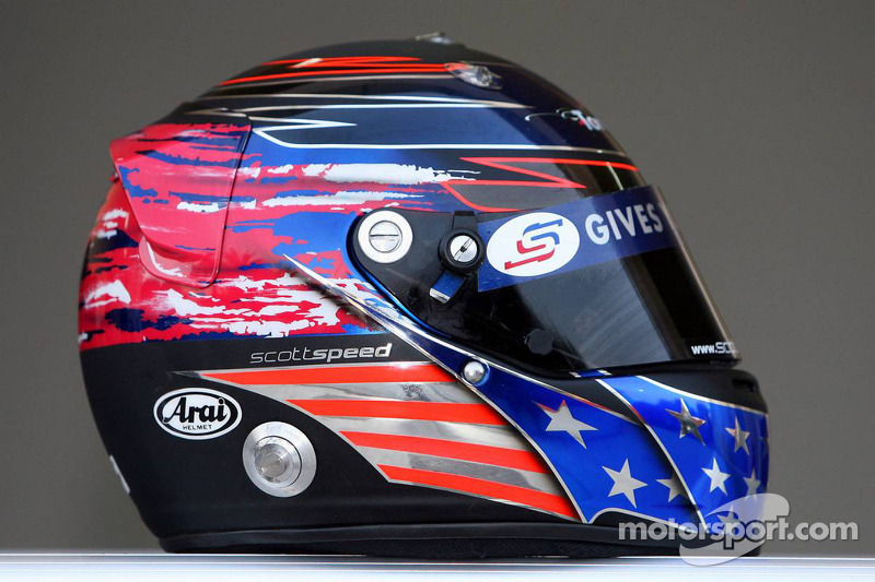 Red Bull Racing and Scuderia Toro Rosso photoshoot: helmet of Scott Speed
