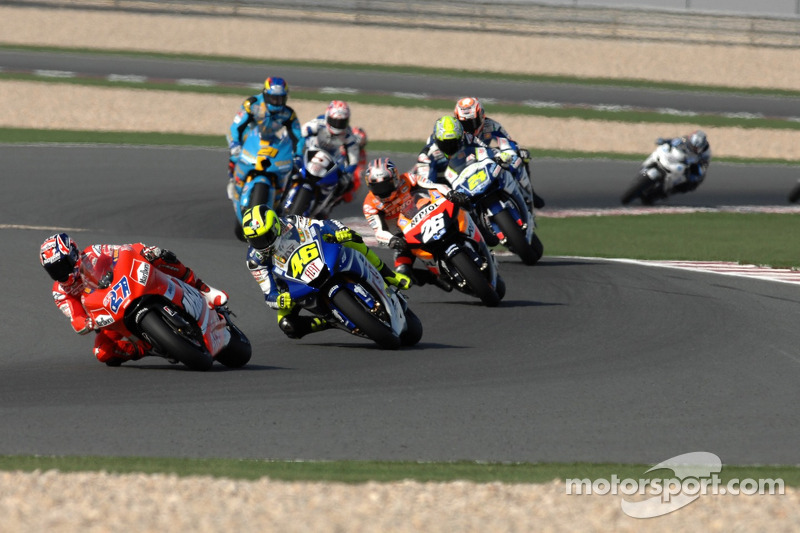 Casey Stoner devant Valentino Rossi et Dani Pedrosa