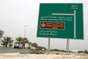 Road sign for the Bahrain International Circuit