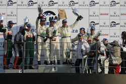 LMGT1 podium: class winners Luc Alphand, Patrice Goueslard and Jérôme Policand, with second place Christophe Bouchut, Gabriele Gardel and Fabrizio Gollin, and third place Jean-Luc Blanchemain, Sébastien Dumez and Vincent Vosse