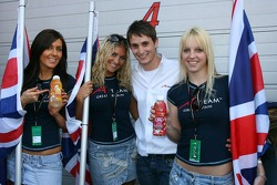 Oliver Jarvis , Driver of A1Team Great Britain and the grid girls