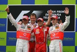 Podium: Sieger Felipe Massa, 2. Lewis Hamilton, 3. Fernando Alonso