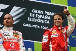 Podium: race winner Felipe Massa with Lewis Hamilton