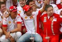 Victory celebrations at Ferrari: Michael Schumacher, Scuderia Ferrari, Advisor, Felipe Massa, Scuderia Ferrari, Jean Todt, Scuderia Ferrari, Ferrari CEO