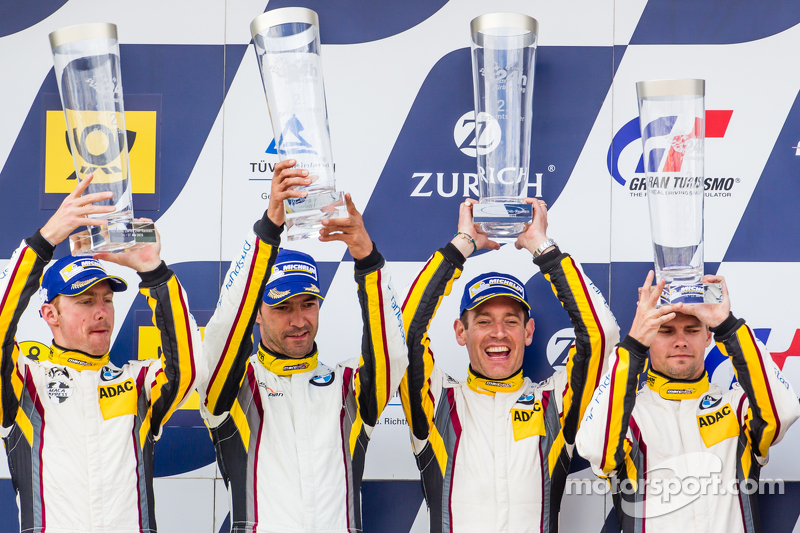 Podium: second place #25 Marc VDS Racing BMW Z4 GT3: Maxime Martin, Lucas Luhr, Markus Palttala, Richard Westbrook
