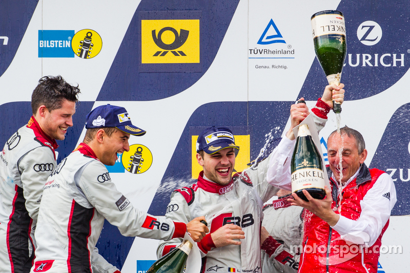 Podium: Christopher Mies, Edward Sandström, Nico Müller, Laurens Vanthoor and Romolo Liebchen celebrate with champagne