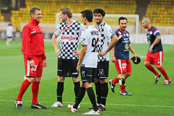 Tom Kristensen, Pascal Wehrlein Mercedes AMG F1 Reserve Driver and Carlos Sainz Jr. Scuderia Toro Rosso at the charity football match