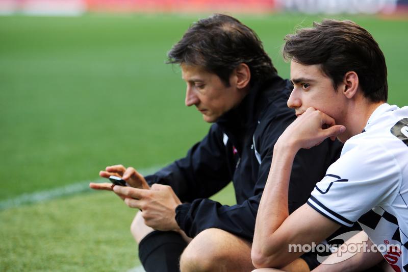 Esteban Gutierrez Ferrari Test and Reserve Driver and Massimo Rivola Ferrari Sporting Director at the charity football match
