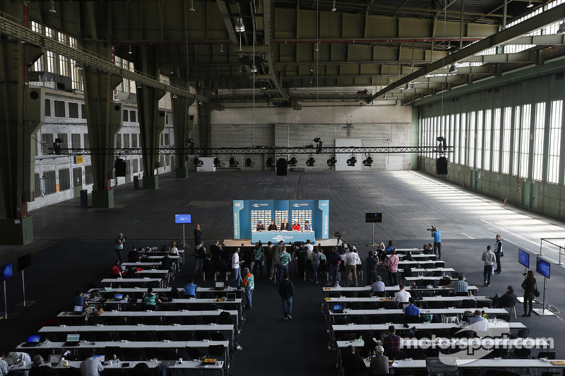 Press conference in a huge hangar