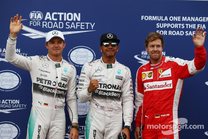 Pole-Position für Lewis Hamilton, Mercedes AMG F1; 2. Nico Rosberg, Mercedes AMG F1 W06, und 3. Seba